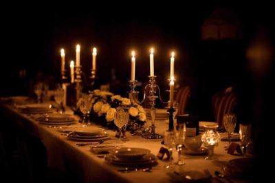 sense you dinner: taste, fragrance, eyes, touch. Add a fragrance candle.