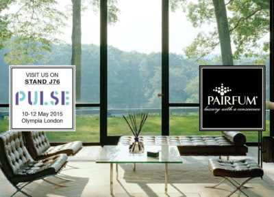 Pairfum at Pulse 2015: luxury scented candles, fragrance reed diffusers and refill oils, room perfume sprays, wardrobe sachets and much more: natural / organic / essential oils / hand-made in the UK