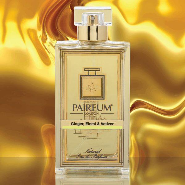 Eau De Parfum Bottle Ginger Elemi Vetiver Gold Liquid