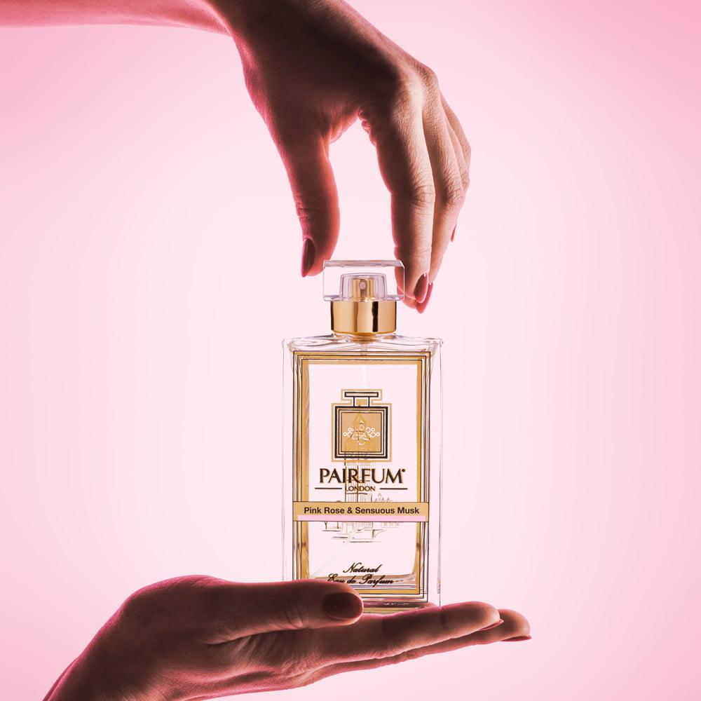 Pairfum Eau De Parfum Bottle Woman Hands Pink Rose Sensuous Musk Square