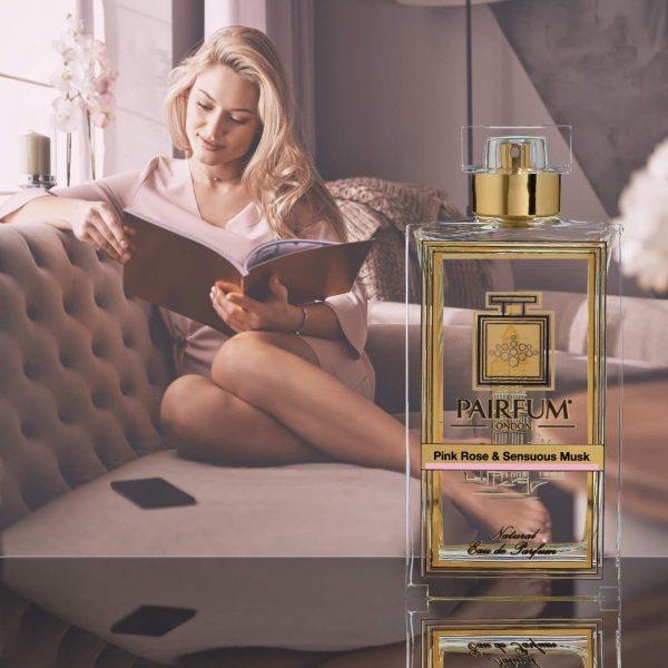Eau De Parfum Person Reading Pink Rose Sensuous Musk Woman 1 1