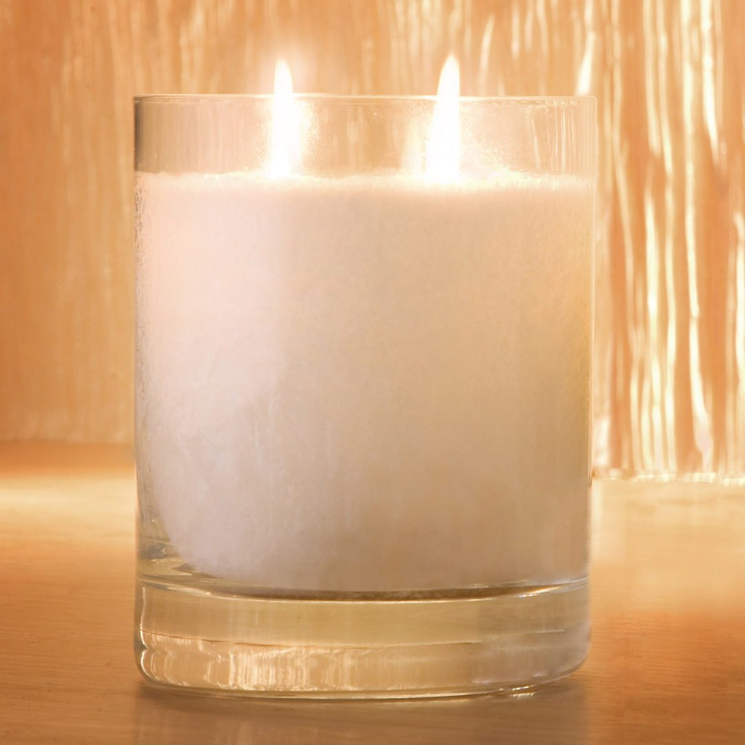 Large Snow Crystal Perfume Candle Twin Wick Glass 1 1