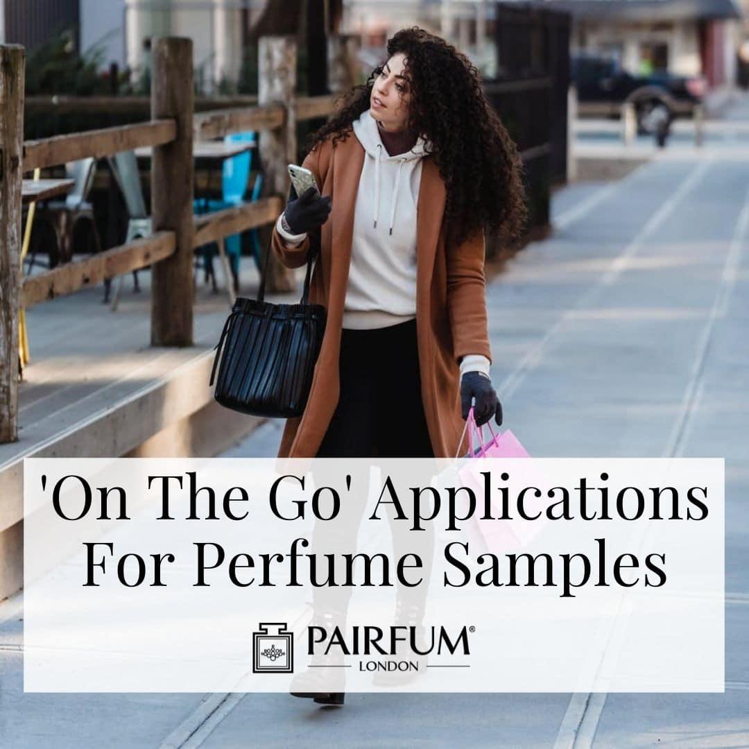 Woman Wearing Perfume Sample On The Go