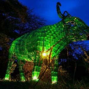 St Patricks Day Green Nyati Buffalo Statue Kenya